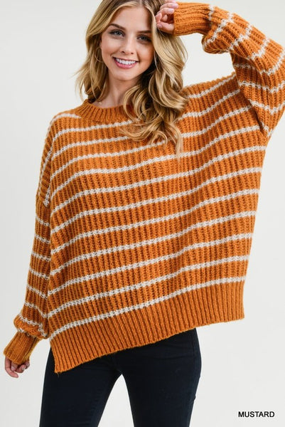 First Frost Striped Sweater - Mustard
