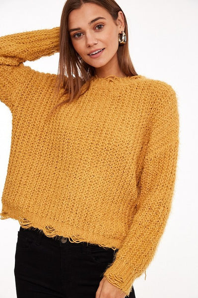 Chic Outlook Distressed Sweater - Mustard