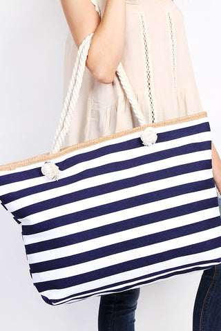 Striped Beach Bag - Navy