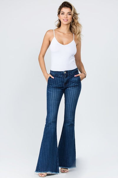 Pinstriped Flare Denim
