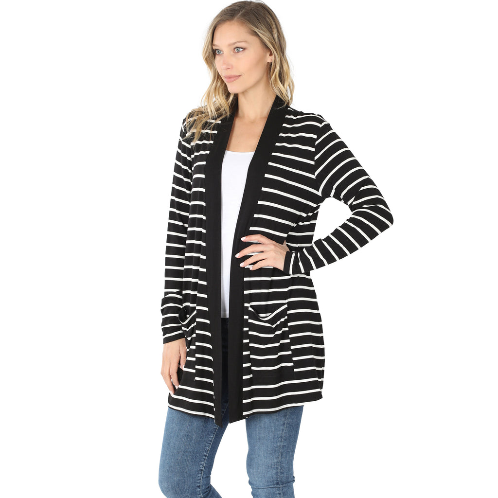 Perfectly Paired Striped Cardigan - Black