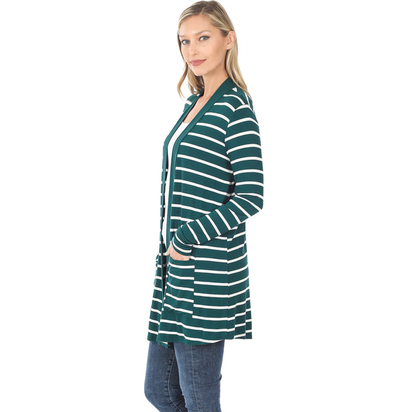 Perfectly Paired Striped Cardigan - Green
