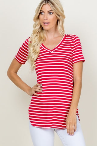Just Be Sweet Striped Top - Red