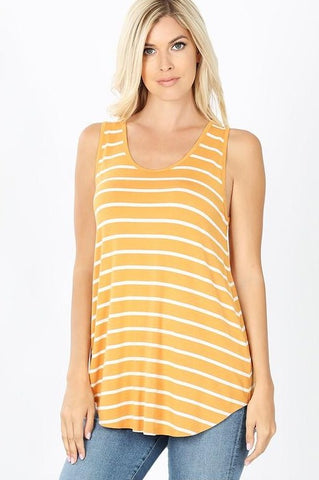 Heavenly Striped Tank - Mustard