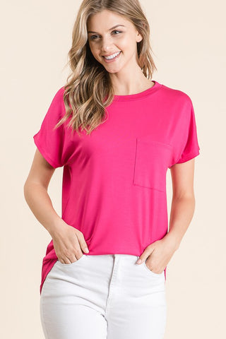 Such a Go To Pocket Tee - Fuchsia