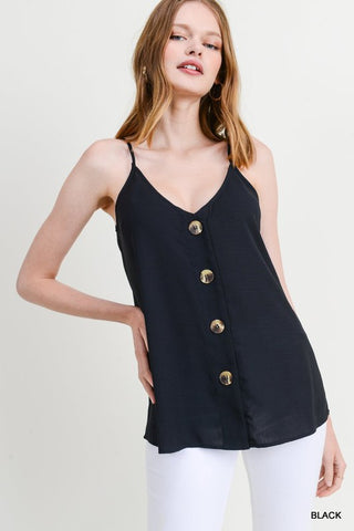 It's Just Me Button Front Cami - Black