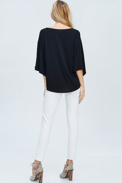 At Your Leisure Button Down Top - Black