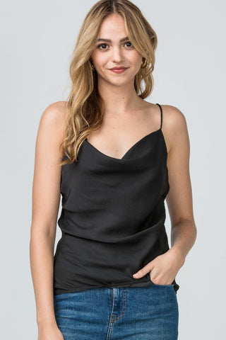 Sweet And Divine Cowl Neck Cami - Black
