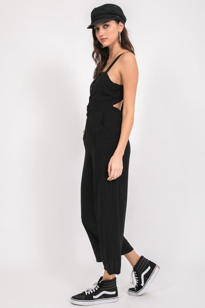 Button-Up Jumpsuit - Black