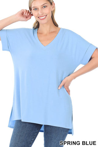 Feels Right Solid V-Neck Top - Sky Blue