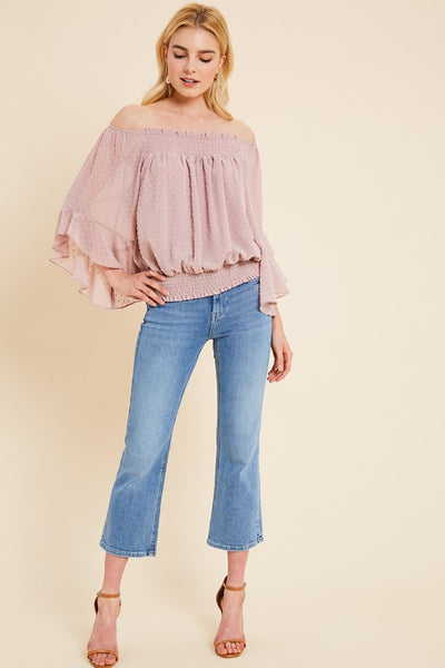 Day Dreamer  Off The Shoulder Top - Blush