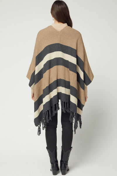 Let's Do Brunch Striped Kimono - Charcoal