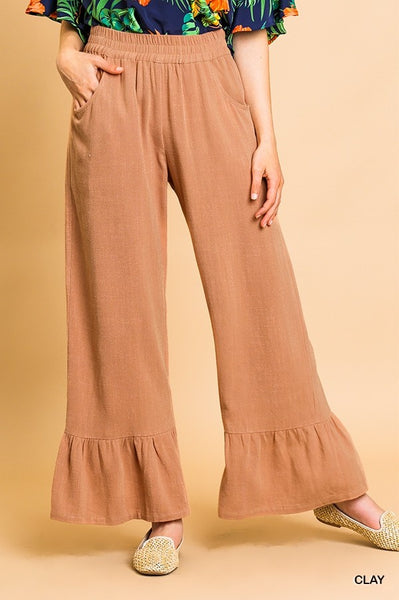 All For Love Ruffle Leg Pant - Clay