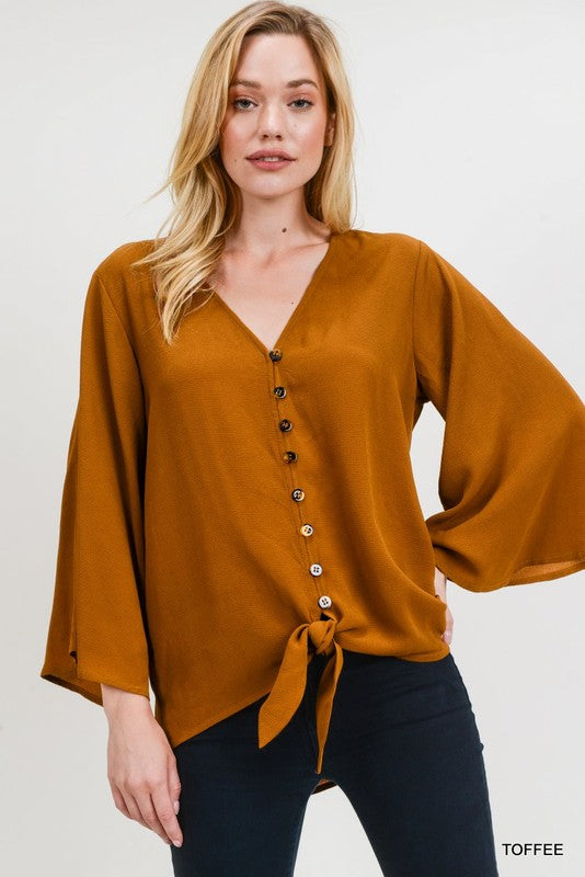 I Feel Love Button Up Top - Dark Mustard