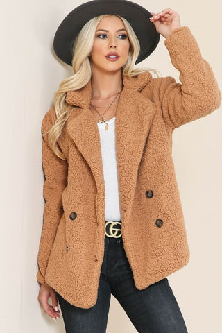 Mariana Teddy Bear Jacket - Camel