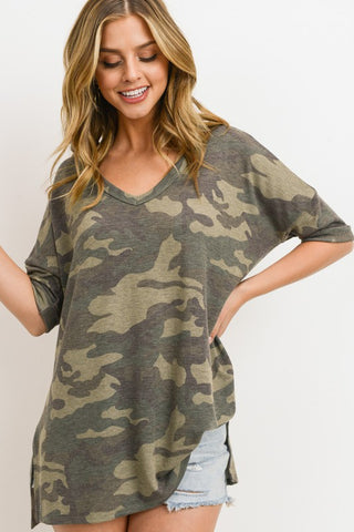 Let's Meet Later Camo Top