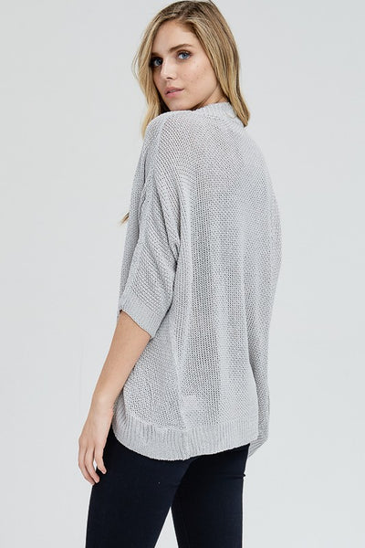Finley Elbow Sleeve Cardigan - Grey