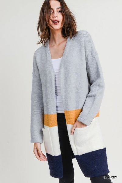 Coffee Morning Cardigan - Mustard Navy