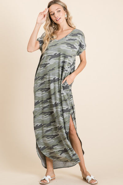 Let's Hang Out Camo Maxi Dress