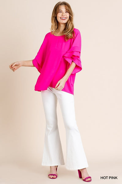 Big Personality Ruffle Sleeve Top - Pink