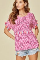 Kallie Tassel Top - Hot Pink