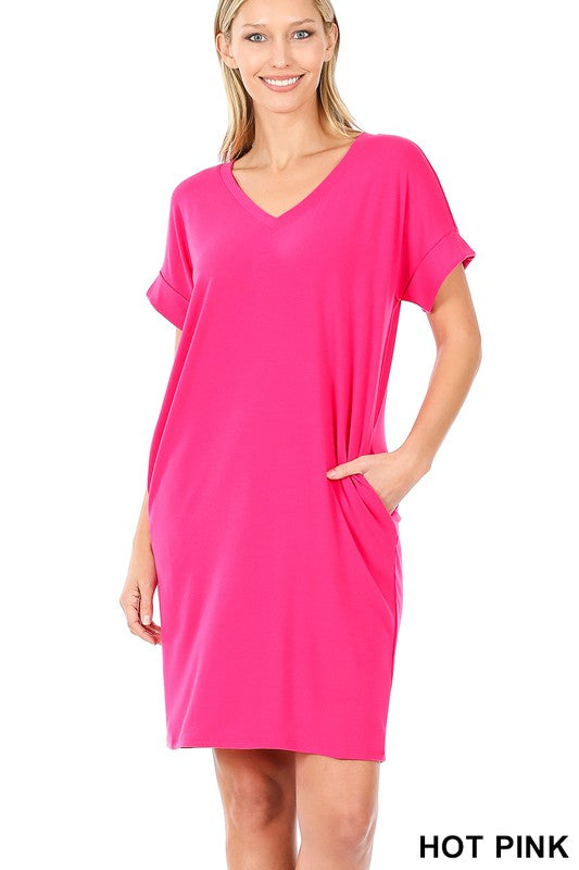 Easy Does It Shirt Dress - Hot Pink