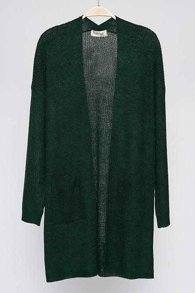 Go Ahead Now Cardigan - Hunter Green