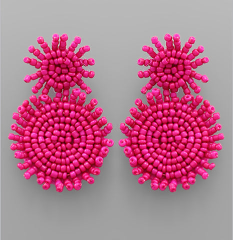 Beaded Fringe Drop Earrings - Fuchsia