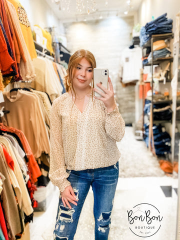Sweet On Me Leopard Top - Cream