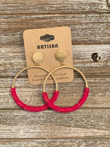 Bead Ring Earrings - Fuchsia