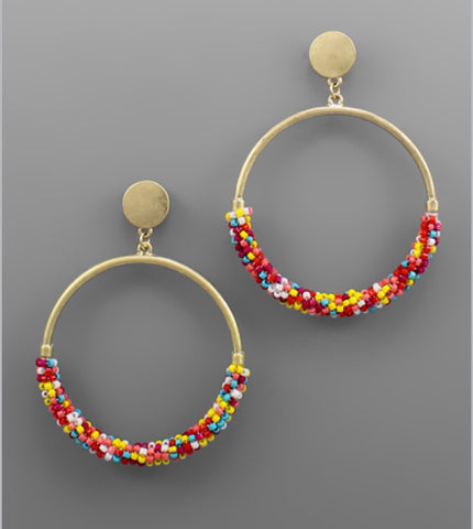 Bead Ring Earrings - Multi