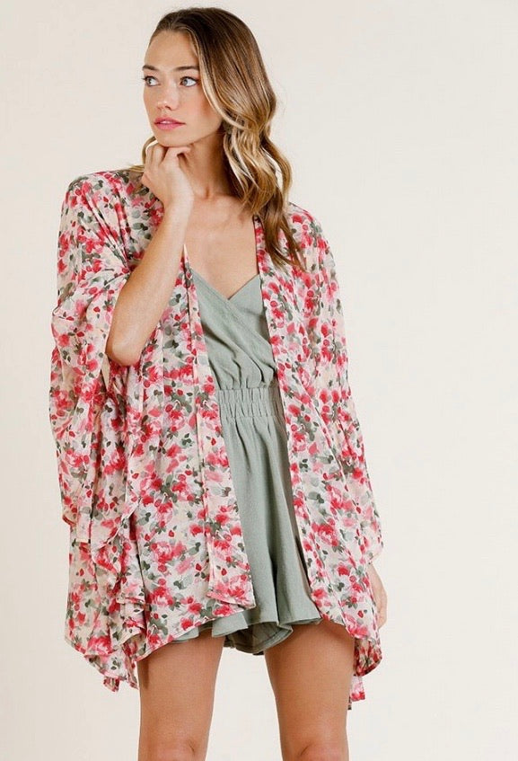 Need You Now Floral Kimono - Red