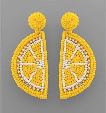 Beaded Lemon Slice Earrings