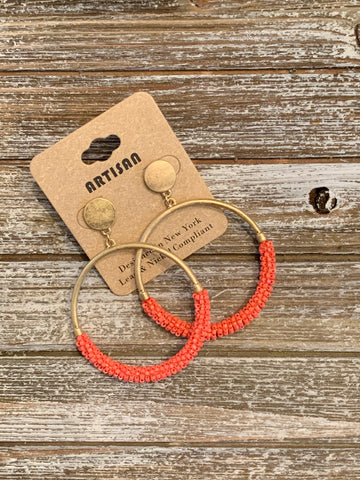 Bead Ring Earrings - Coral