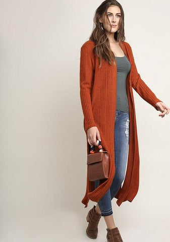 In Perfect Harmony Cardigan - Rust