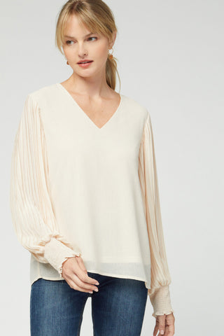 Adeline Pleated Top - Ivory