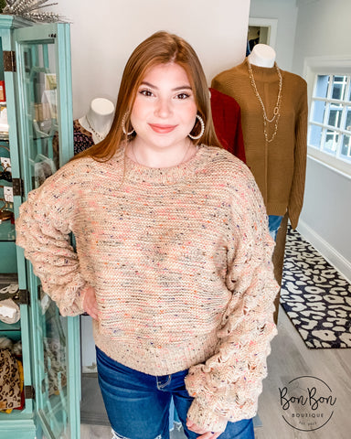 Shelby Bubble Sleeve Sweater - Taupe