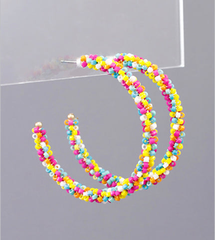 Beaded Hoops - Multi