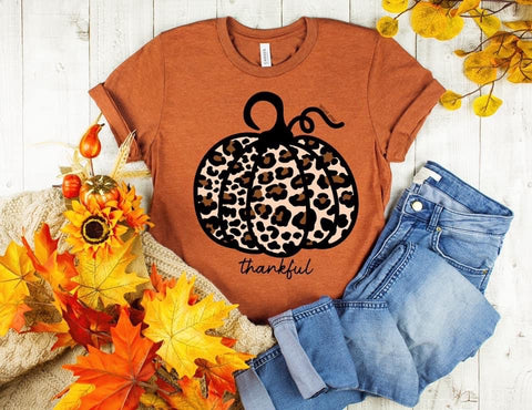 Leopard Pumpkin Thankful Tee - Rust