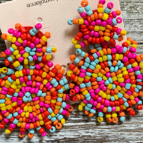 Beaded Fringe Drop Earrings - Multi