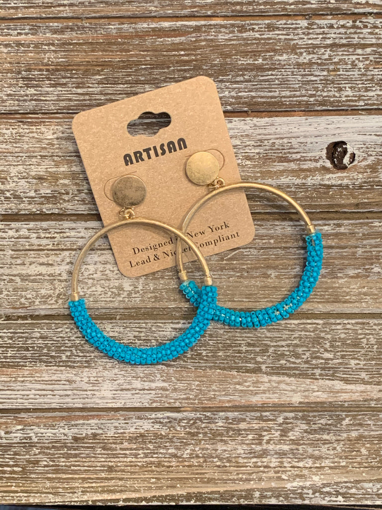 Bead Ring Earrings - Turquoise