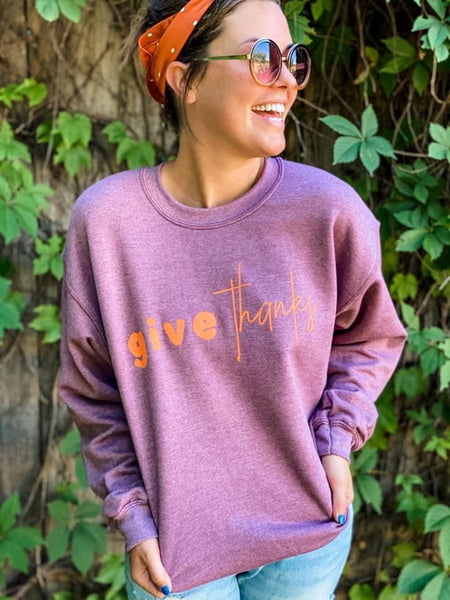 Give Thanks Sweatshirt - Heather Plum