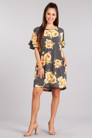Falling For You Floral Dress - Mustard