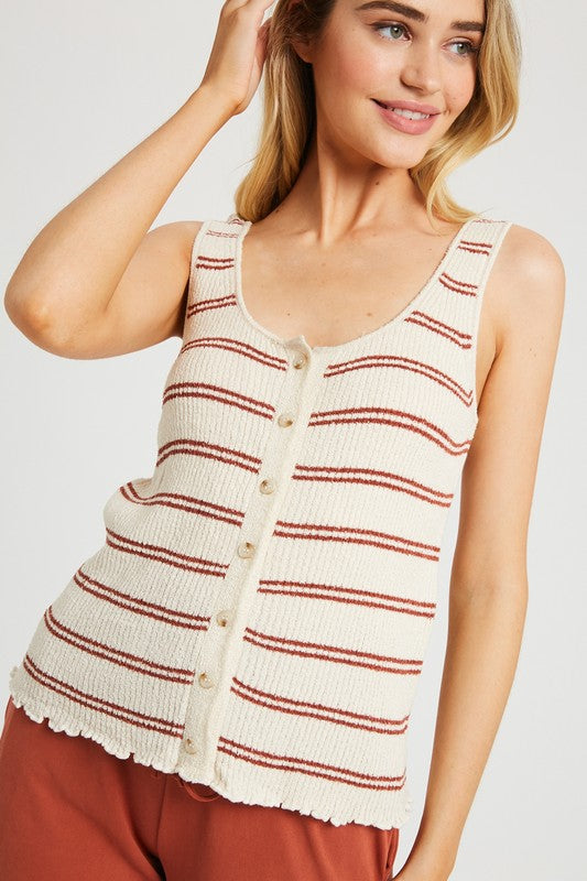 Seeing Stripes Sweater Tank - Rust