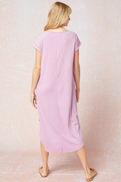 Callie Ribbed Midi Dress - Lavender