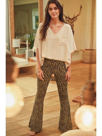 Let My Heart Run Wild Leopard Flare Pants