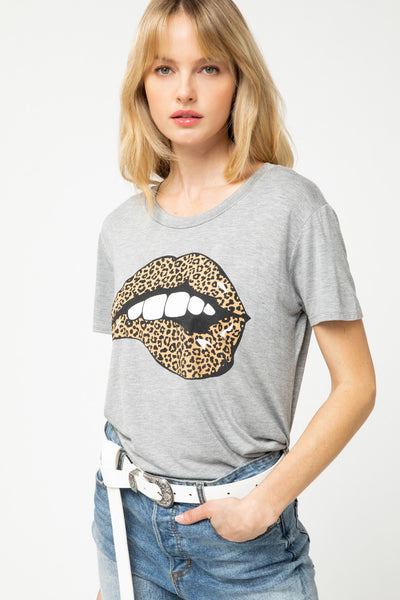 Leopard Lips Graphic Tee - Grey