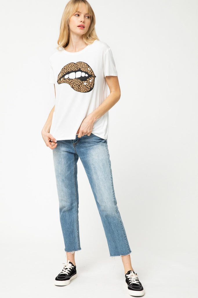 Leopard Lips Graphic Tee - Ivory