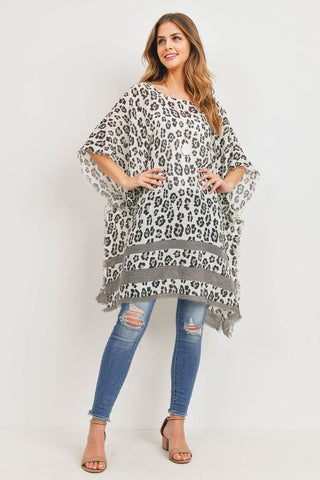 Averi Sheer Leopard Poncho