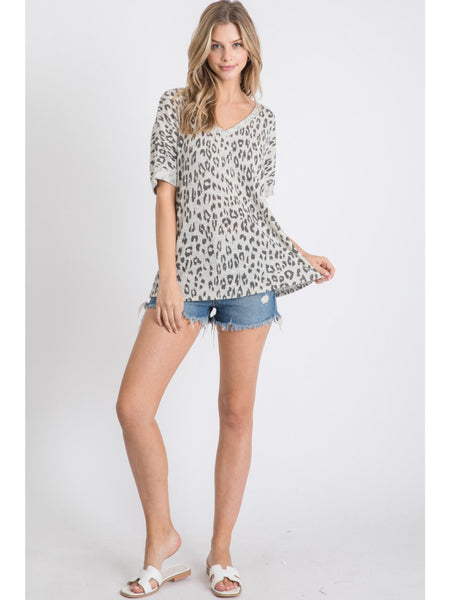 Wild Hearted Leopard Top - Grey
